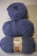 Hayfield Grampian yarn 3 ply sport blue heather 50 gr lot/3 acrylic/nylon/wool