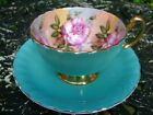 VINTAGE BLUE AYNSLEY CHINA FOUR CABBAGE ROSE FOOTED TEA CUP & SAUCER CABINET