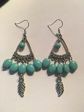 Tibet Silver oval Turquoise bead leaf Feather hook Earrings-E609