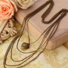 Long Vintage Sweater Necklace Jewelry Multi-layer Chain Heart