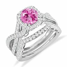 WOMEN'S PINK SAPPHIRE SOLITAIRE ENGAGEMENT BRIDAL RING SET 14K WHITE GOLD OVER