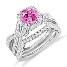 Womens Solitaire Halo Pink Sapphire & Diamond Engagement Ring Wedding Bridal Set