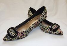 M&S Ltd Collection Ladies Pink Floral 60s Retro Kitten Heel Shoes Size 5.5/38.5