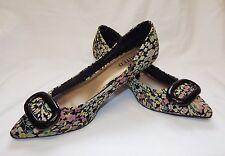 M&S Ltd Collection Ladies Multi Floral 60s Retro Kitten Heel Shoes Size 5.5/38.5
