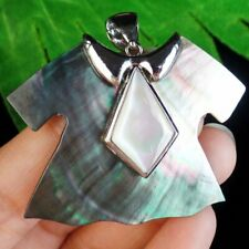 BK89 Wrapped Carved Tibetan Silver Natural Abalone Shell Clothes Pendant Bead