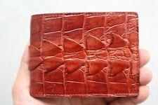Red Brown Genuine Alligator ,Crocodile Leather Skin Men's Money Clip Wallet