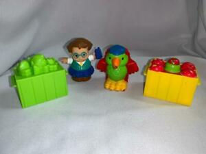 Fisher Price Little People Lot-Apple Crate Worm Lettuce-Mayflower Parrot-Dad