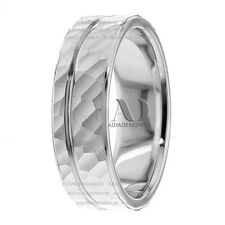 Specialty Hammer With Shiny Line Wedding Band Ring 14K Solid White Gold 7.5mm