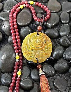 "Red Jade Pendant 32"" Long Necklace Jadeite Bead Choker Length or Opera Length"