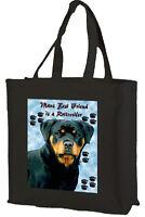 Rottweiler Dog Cotton Shopping Bag, Choice of Colours, Black, Cream