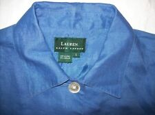 Awesome-New-Ralph-Lauren-Blue-Jacket-Top-L-Large-100% Linen-Beautiful-NWOT