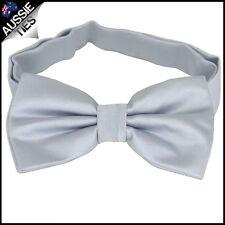 MENS LIGHT SILVER BOW TIE Bowtie Pre-tied wedding tuxedo plain grey