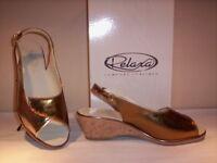 Relaxa scarpe comode classiche sandali eleganti casual donna zeppa pelle 39 40