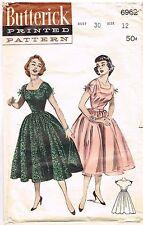 Vintage Pattern  Rockabilly Dress Cut Out Neckline Butterick 6963 12/30 1950's