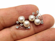 Akoya Cultured Pearl and Diamond Earrings in Solid 14k White Gold
