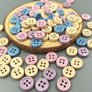 100pcs Mini Mixed Wooden Buttons Sewing Scrapbooking Craft 4 hole 10mm