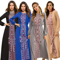Muslim Women Embroidery Long Maxi Dress Boho Ethnic Abaya Robe Kaftan Cocktail