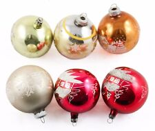 6 Silver Gold Red Glass Balls White Design Christmas Ornament Holiday Decoration