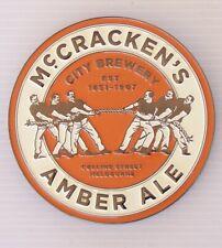 METAL BEER TAP HEAD BADGE McCRACKEN'S AMBER ALE BREWERY BAR PUB HOME DISPLAY