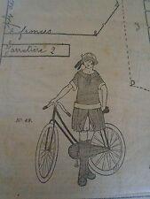"""PATRON ORIGINAL POUR LA POUPEE LISETTE  """" COSTUME DE CYCLISTE AVEC CULOTTE 1922"""