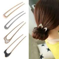1XMinimalist Alloy U Shape Hair Sticks For Women Lady Hairpin Bun Tool Headwear