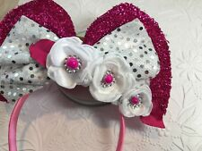 TODDLER GIRL PLASTIC HEADBAND MINNIE INSPIRED SEQUIN BOW FLOWERS SILVER WHITE FU