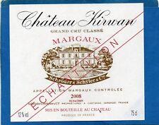 MARGAUX 3EGCC VIEILLE ETIQUETTE CHATEAU KIRWAN 2008 75 CL ECHANTILLON§30/03/18§