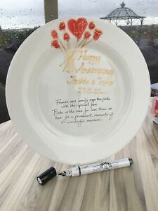 Personalised/Non Personalised 40th Anniversary Rd Plate Flower