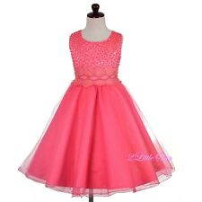 Pearls Sequins Tulle Party Pageant Wedding Flower Girl Dresses Size 2-10 FG372