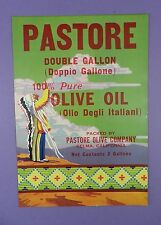 c1940's Pastore Olive Oil Label with Native American Indian - Unused Stock