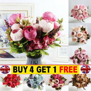 13 Heads Silk Peony Artificial Flowers Peony Wedding Bouquet Home Party Decor LI