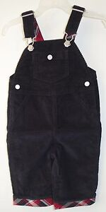 New Hanna Anderson Black Corduroy W/Plaid Trim Overall Size 70 / 5-12 Month