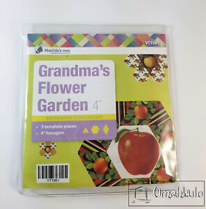 "MATILDAS OWN - Grandmas Flower Garden 4"" Template Set - 3 Pieces - Hexagon"
