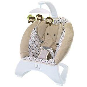Dondolo Sdraietta per Neonati Vibrante Musicale Fitch Baby Elefantino Tortora