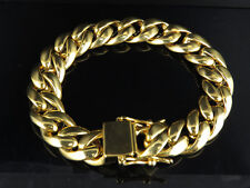 "Men's Yellow Gold Finish Stainless Steel Miami Cuban Heavy Bracelet 8.5"" 13MM"