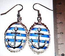 Ohrringe Anker Maritim Glas Cabochon Blau Oval  Damen Ohrschmuck Modeschmuck
