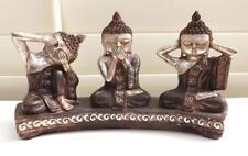 THAI MONK BUDDHA SEE SPEAK HEAR NO EVIL SILVER  STATUE FIGURINES