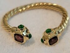 GIVENCHY Unsigned Glass Cabochon Gold Tone Rope Cuff Bracelet Amethyst Green