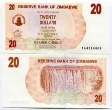 Zimbabwe 20 Dollar Bearer Check UNC AA 2006 P40 - Sequentially numbered Notes