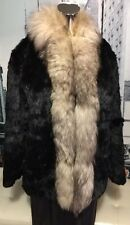 NIKI Black Real Genuine Rabbit Fur W/ Fox Fur Trim Jacket Short Coat Sz L