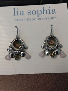 Lia Sophia silver dangle earrings with abalone shell and beads, Opulent
