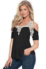 Maglia maglietta traforata Ricamata Casual T-shirt Club Top Crochet aperta S