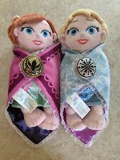 Disney Parks Babies Princess ANNA ELSA Plush Baby Doll Blanket Frozen Soft LOT