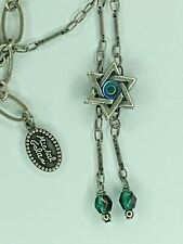 Michal Golan Sterling Silver Star of David Necklace with Blue Glass Handmade