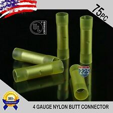 75 Pack 4 Gauge Wire Butt Connectors Yellow Nylon 4 AWG Crimping Terminals USA