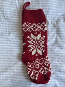 The White Company Christmas Red White Nordic Stocking New 100% Wool