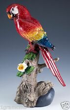 """Scarlet Red Macaw Parrot Bird Figurine 8.5"""" High Glossy Finish New In Box"""