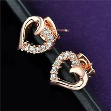 White Rose Gold Plated Heart Love Stud Earrings with Crystals for Women