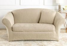 Cream Ivory Loveseat Sure Fit Stretch Jacquard Damask separate seat Slipcover