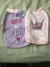 2 Xsmall 1 Pink & 1 Purple Little Girl Dog Tee Shirts, Slightly Used Second Hand